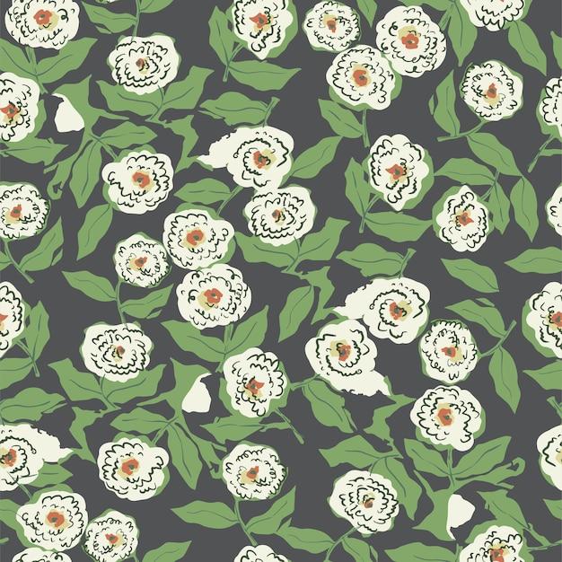 벡터 handdrawn 펜 그리기 추상 복고풍 꽃과 잎 원활한 반복 패턴