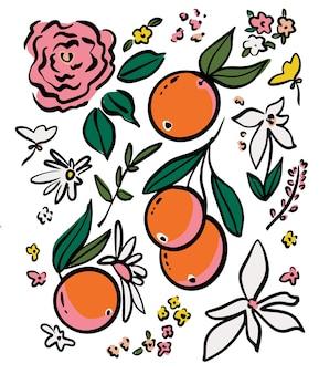 オレンジ色の果物と花の落書きイラストグラフィックリソースを描くベクトル手描きペン