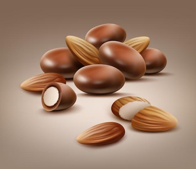 Вектор горсть целых и нарезанных миндальных орехов в шоколадной скорлупе, вид сбоку на светло-коричневом фоне