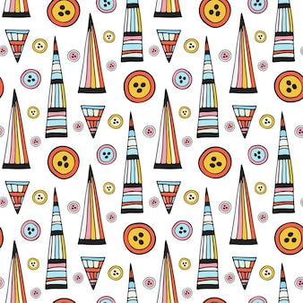 Vector handmade seamless pattern. abstract repeat background with button. bright ethnic backdrop