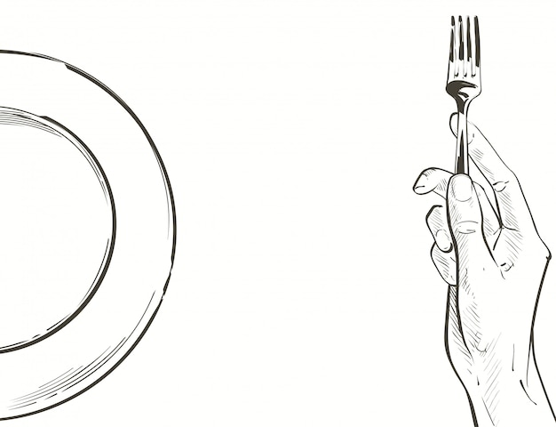 Vector hands holding a knife and fork