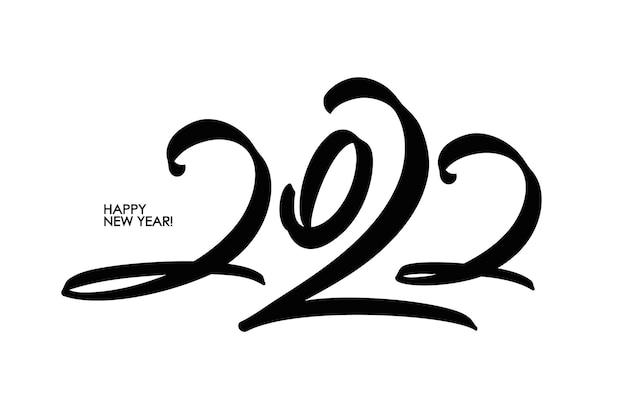 Vector handwritten calligraphic brush number lettering of 2022. happy new year.