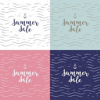 Vector handwritten calligraphy set special offer, up, mega sale etc. lettering collection for discount cards or advertising posters etc. calligraphic phrase on white background with sunburst.
