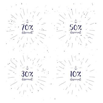 Векторный набор рукописной каллиграфии специальное предложение, up, mega sale и т. д. коллекция надписей для дисконтных карт или рекламных плакатов и т. д. каллиграфическая фраза на белом фоне с sunburst.