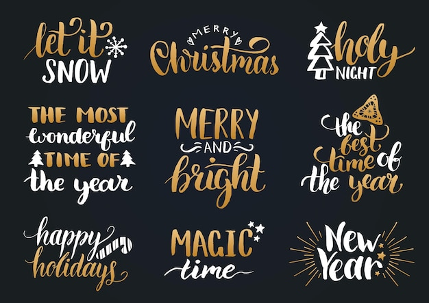 Vector handwritten christmas and new year calligraphy set with festive decorations. happy holidays, holly jolly etc lettering.