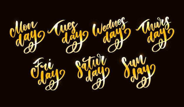 Vector handwritten week days set.