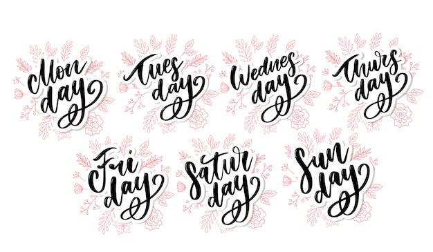 Vector handwritten week days and symbols set. inked font. stickers for planner and other.