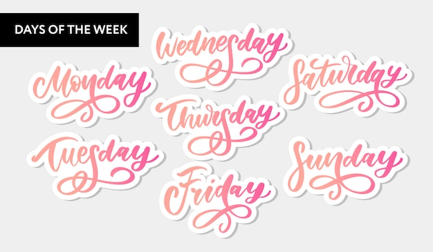 Vector handwritten week days and symbols set