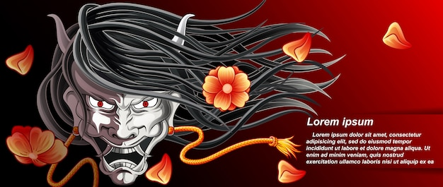 Vector hannya background is japanese giant.