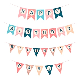 ベクター幸せな誕生日フラグ。印刷可能なテンプレートフラグ。お誕生日おめでとうベクトルイラスト