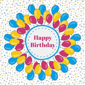 Вектор с днем рождения кадр с красочными воздушными шарами. фон для праздничных открыток