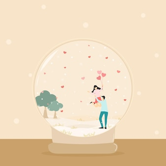 Vector happy couple lover with natural background snow and pink balloon heart in snow ball