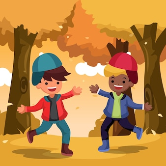 Vector happy cute kid fun and playing with autumn leaves