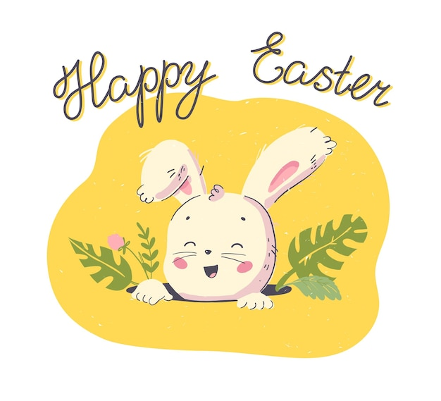 Vector happy easter congratulation with hand drawn cute little rabbit character head in hole and floral decorative elements isolated on white background. good for holiday card, banner, tag, print etc.