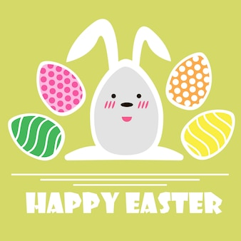 Vector happy easter greeting card. easter eggs and text happy easter on green background