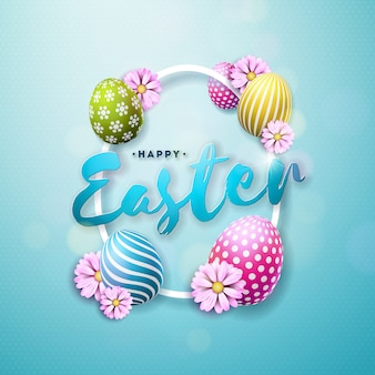 Vector happy easter illustration with egg and flower