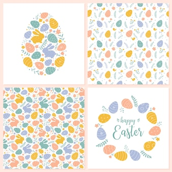 Vector happy easter templates and seamless patterns