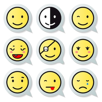 Vector happy face speech bubble set