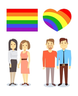 Vector happy gay lgbt pairs