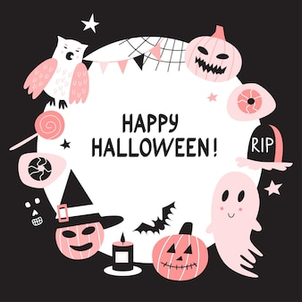 Vector happy halloween round frame background with cute characters.