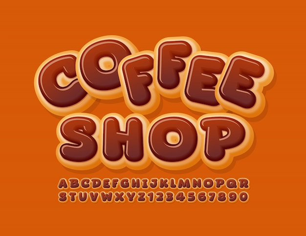 Vector happy logo coffee shop with chocolate glazed font. donut alphabet letters and numbers