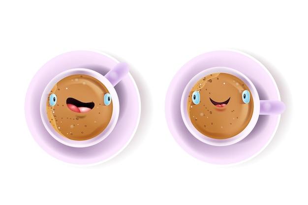 재미 있은 귀여운 웃는 얼굴, 커피, 접시 흰색 절연 벡터 행복 사랑 컵 커플 카드. 뜨거운 코코아, 라떼와 발렌타인 데이 귀여운 아침 식사 개념. 사랑 커피 상위 뷰 그림