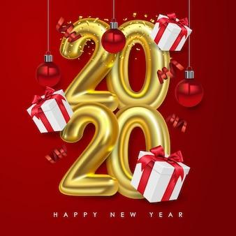 해피 뉴 2020 년 벡터. 상자 선물 및 크리스마스 공 금속 번호 2020. 빨간색 배경