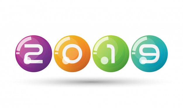 Vector happy new year 2019 with colorful floating 3d balls