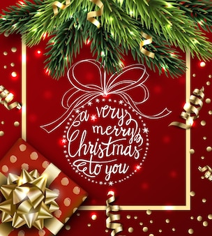 Vector happy new year background with gold serpentinechristmas gift with hand drawn christmas ball