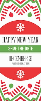 Vector happy new year or merry christmas theme save the date invitation to the party