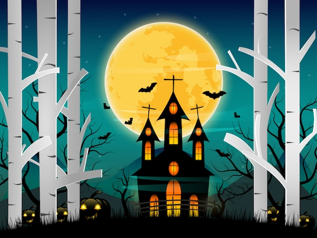 Vector happy night halloween background