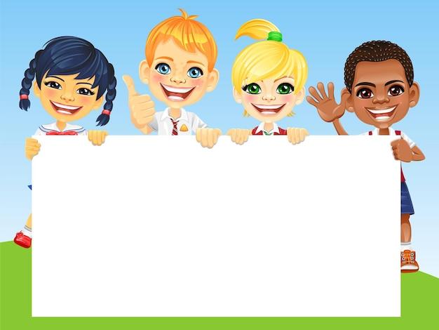 Вектор счастливой улыбкой дети и баннер