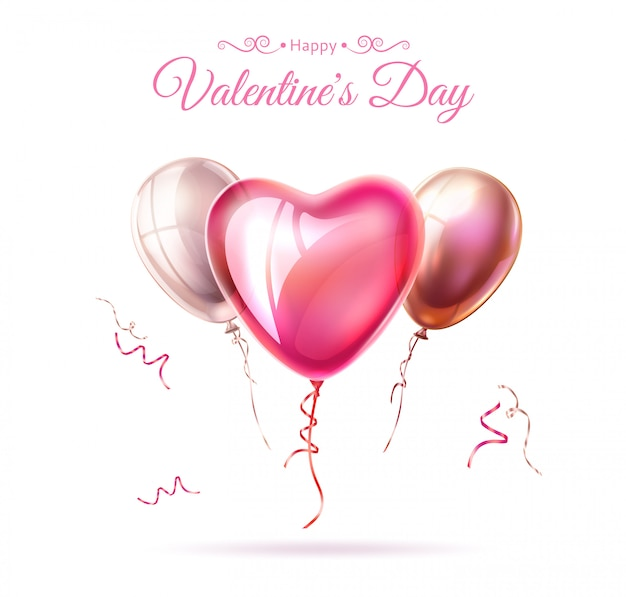 Vector happy valentine day heart balloon ribbon