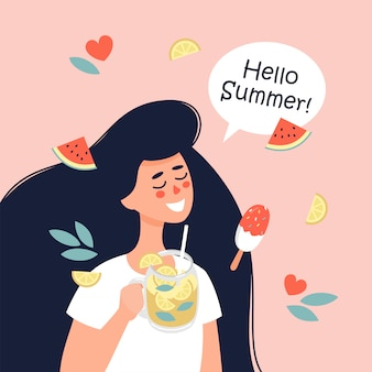 Vector happy woman with fresh lemonade in hand and the text hello summer