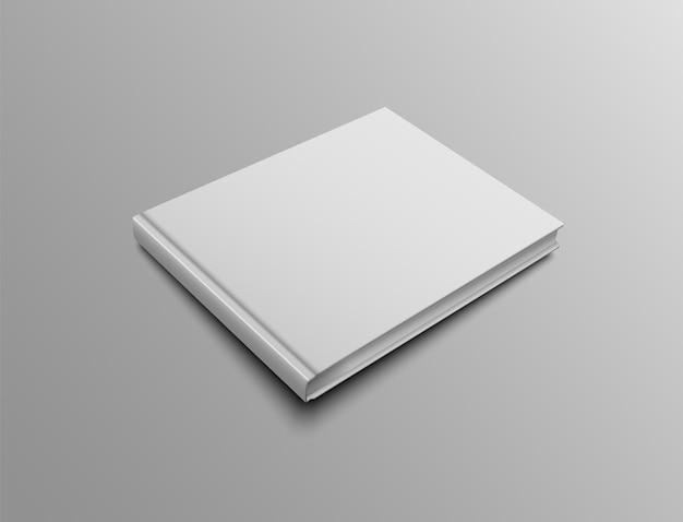 横向きのハードカバーのモックアップ本をベクトルします。リアルなカバーデザインのプレゼンテーションテンプレート。