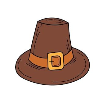 Векторная шляпа. шляпа паломника в стиле каракули для осеннего праздника благодарения, изолированный элемент на белом фоне для дизайна