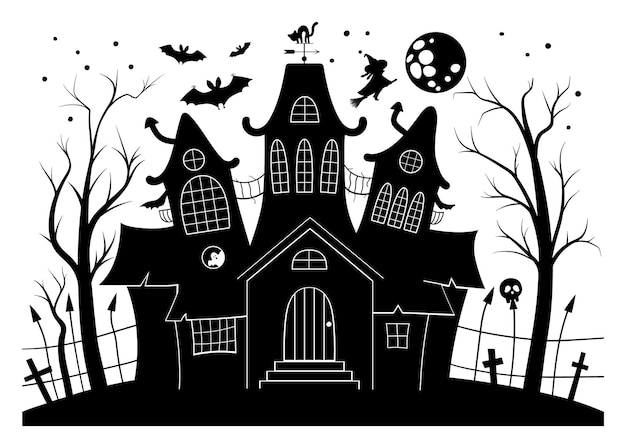 Vector haunted house black and white illustration. halloween background with silhouette of spooky cottage with big moon, ghosts, bats, cemetery. scary samhain party invitation or card design.