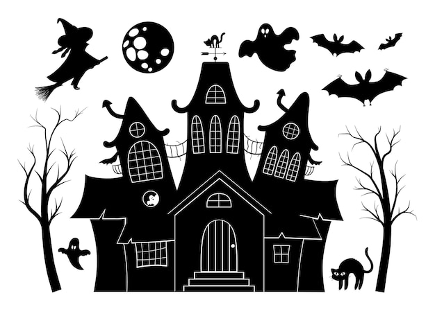 Vector haunted house black and white illustration set. halloween silhouette elements of spooky cottage, big moon, ghost, bats, trees. scary samhain party invitation or card design.