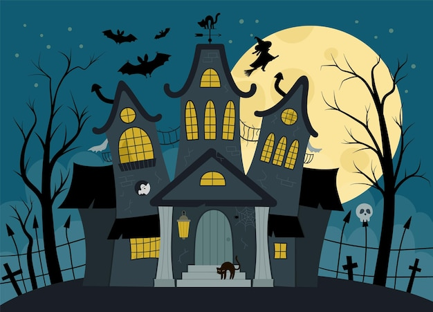 Vector haunted house illustration. halloween background. spooky cottage scene with big moon, ghosts, bats, cemetery on dark blue background. scary samhain party invitation or card design.