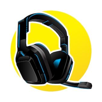 青いledとゲームのベクトルヘッドフォン
