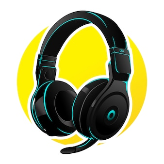 Vector headphone for gaming with  cyan led