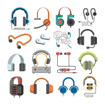 Vector headphone icons set on white