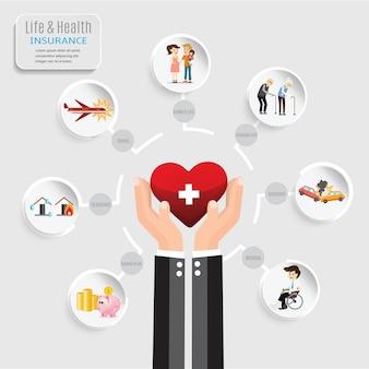 Vector health insurance service.