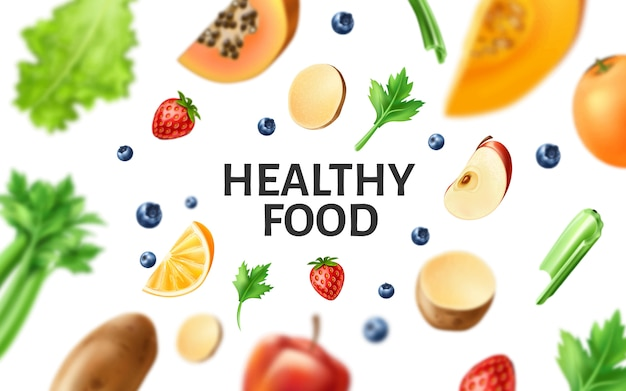 Vector healthy food, organic fruit at wooden table