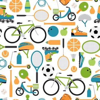 ベクトル健康的なスポーツパターンの背景。シームレスパターン、ローラーとヘルメット、ボールとシャトルコック、ボウリングとテニスと野球