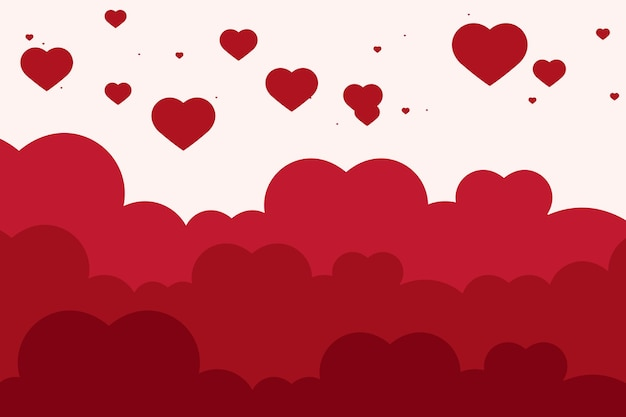 Vector heart cloud pattern red background