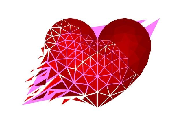 낮은 폴리 스타일의 벡터 심장입니다. 디지털 아트