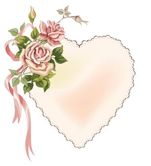 ビクトリア朝の花とバラの弓と紙で作られたベクトルの心