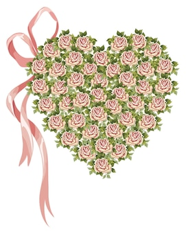 ビクトリア朝の花とバラの弓で作られたベクトルの心
