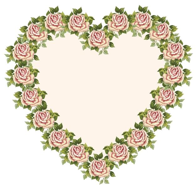 ビクトリア朝の花で作られたベクトルの心